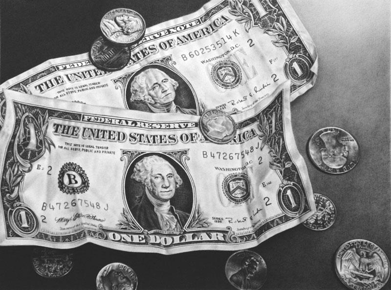 枝川真理の細密鉛筆画 ドル札とコイン