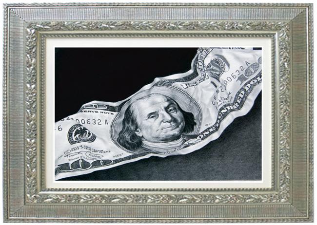 枝川真理の細密鉛筆画 ドル札