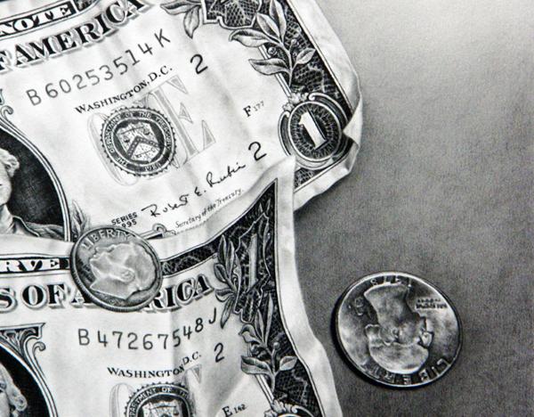 枝川真理の細密鉛筆画 ドル札とコイン2