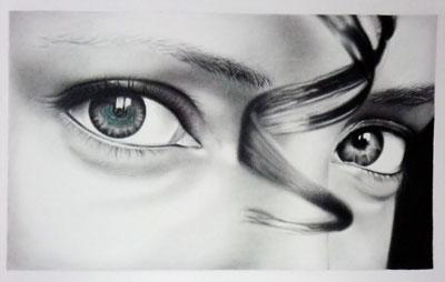 枝川真理の細密鉛筆画 瞳と青い薔薇